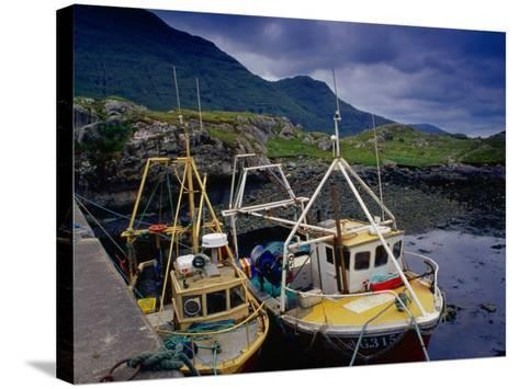 Trawlers at Rosroe in Killary Harbour, Connemara, Ireland-Gareth McCormack-Stretched Canvas Print