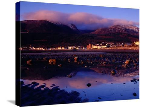 Newcastle Seafront and the Mourne Mountains at Dawn, Newcastle, Northern Ireland-Gareth McCormack-Stretched Canvas Print