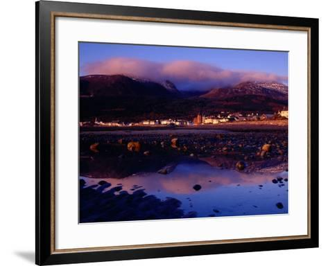 Newcastle Seafront and the Mourne Mountains at Dawn, Newcastle, Northern Ireland-Gareth McCormack-Framed Art Print
