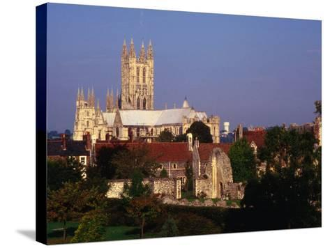 Exterior of Canterbury Cathedral with Other City Buildings in Foreground, Canterbury, Uk-Johnson Dennis-Stretched Canvas Print