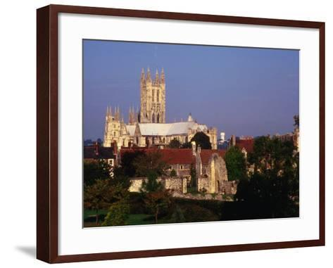 Exterior of Canterbury Cathedral with Other City Buildings in Foreground, Canterbury, Uk-Johnson Dennis-Framed Art Print