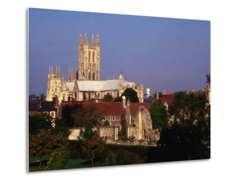 Exterior of Canterbury Cathedral with Other City Buildings in Foreground, Canterbury, Uk-Johnson Dennis-Metal Print