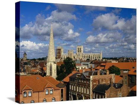 City Buildings with York Minster Cathedral in Background, York, United Kingdom-Johnson Dennis-Stretched Canvas Print