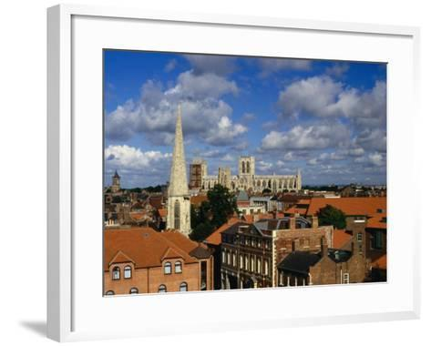 City Buildings with York Minster Cathedral in Background, York, United Kingdom-Johnson Dennis-Framed Art Print