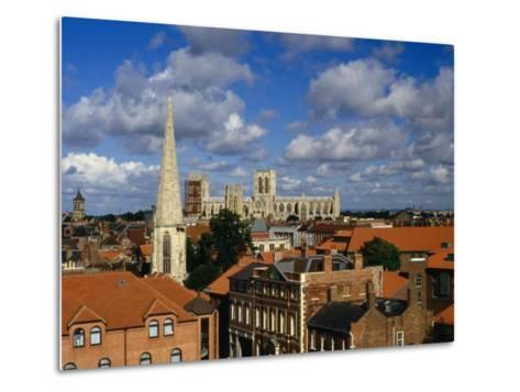 City Buildings with York Minster Cathedral in Background, York, United Kingdom-Johnson Dennis-Metal Print