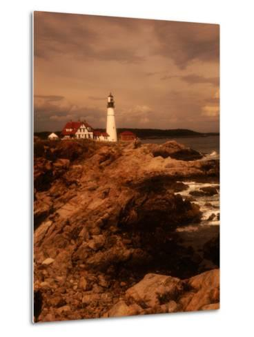 Museum and Portland Head Light House at Cape Elizabeth, Portland, Maine, Portland, USA-Mark Newman-Metal Print