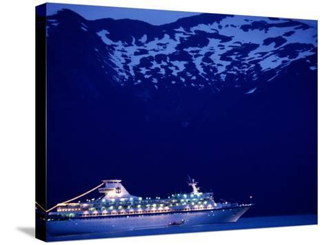A Cruise Ship on Lynn Canal, Lit Up in the Early Evening, Alaska, Lynn Canal, USA-Mark Newman-Stretched Canvas Print