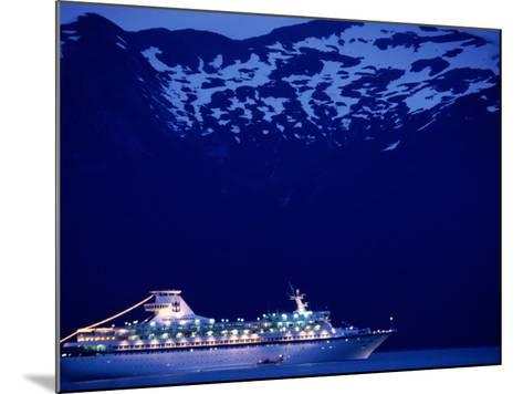 A Cruise Ship on Lynn Canal, Lit Up in the Early Evening, Alaska, Lynn Canal, USA-Mark Newman-Mounted Photographic Print