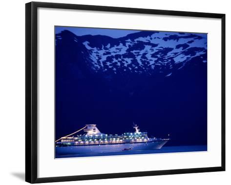 A Cruise Ship on Lynn Canal, Lit Up in the Early Evening, Alaska, Lynn Canal, USA-Mark Newman-Framed Art Print
