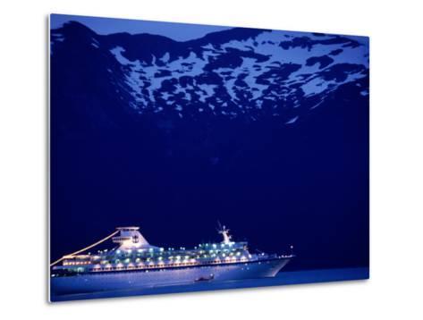 A Cruise Ship on Lynn Canal, Lit Up in the Early Evening, Alaska, Lynn Canal, USA-Mark Newman-Metal Print