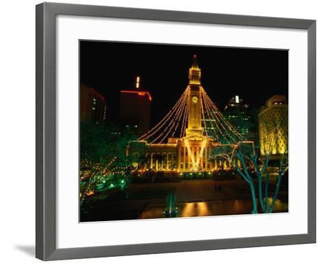 Brisbane Town Hall at Night Brisbane, Queensland, Australia-Barnett Ross-Framed Art Print