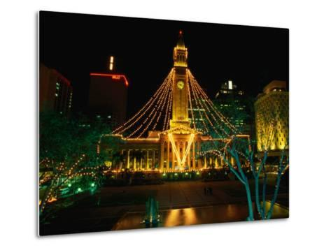 Brisbane Town Hall at Night Brisbane, Queensland, Australia-Barnett Ross-Metal Print