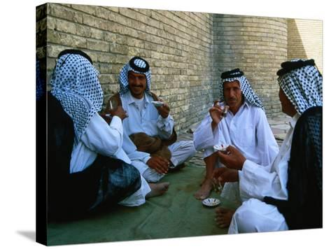 Men Drinking Tea Outside the Holy Shrine of the Imam Ali Ibn Abi Talib, an Najaf, Iraq-Jane Sweeney-Stretched Canvas Print