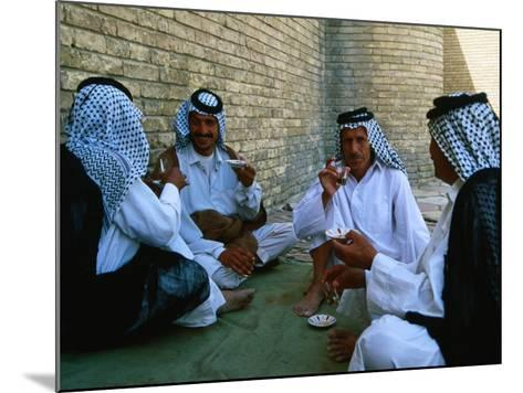 Men Drinking Tea Outside the Holy Shrine of the Imam Ali Ibn Abi Talib, an Najaf, Iraq-Jane Sweeney-Mounted Photographic Print