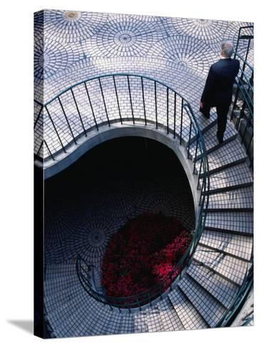 Businessman Ascending Stairs at Embarcadero Centre, San Francisco, California, USA-Roberto Gerometta-Stretched Canvas Print
