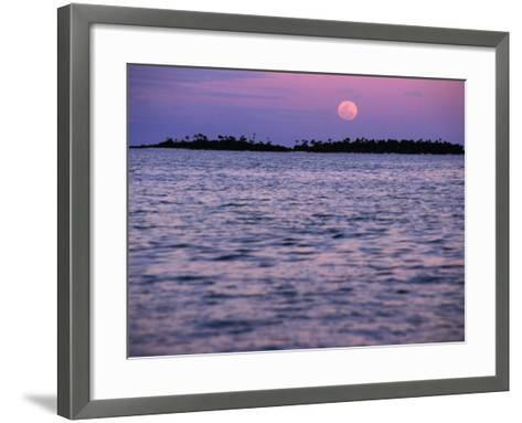 Full Moon at Sunset, Cook Islands-Peter Hendrie-Framed Art Print