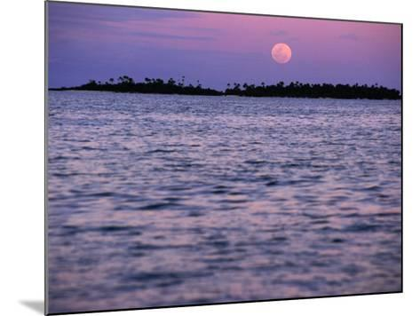 Full Moon at Sunset, Cook Islands-Peter Hendrie-Mounted Photographic Print