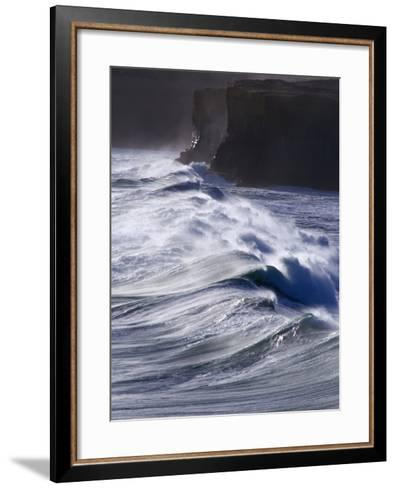Waves Crashing on Cliffs, Port Campbell National Park, Australia-Rodney Hyett-Framed Art Print