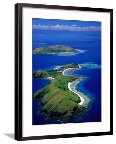 Aerial View of Islands with Yanuya Island in Foreground, Fiji-David Wall-Framed Art Print