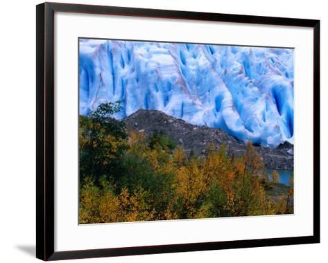 Autumn Colours and Icefall at Briksdalsbreen Glacier, Finnmark, Norway-Anders Blomqvist-Framed Art Print