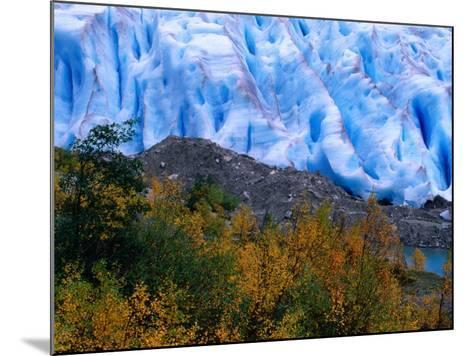 Autumn Colours and Icefall at Briksdalsbreen Glacier, Finnmark, Norway-Anders Blomqvist-Mounted Photographic Print