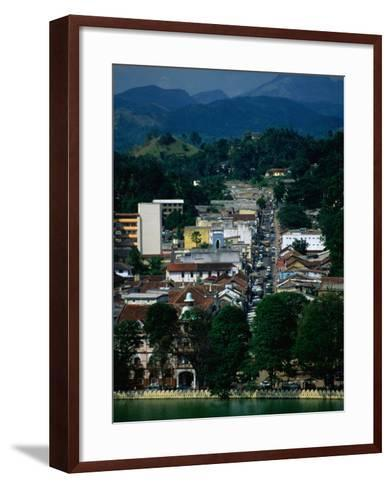River and City Street in Distance, Kandy, Sri Lanka-Dallas Stribley-Framed Art Print