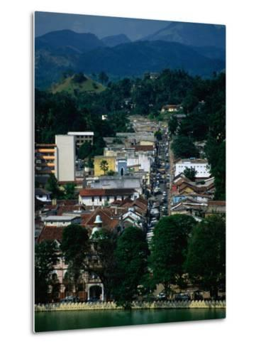 River and City Street in Distance, Kandy, Sri Lanka-Dallas Stribley-Metal Print