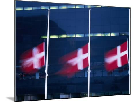 Danish Flags Flying Outside the Black Diamond Building, Copenhagen, Denmark-Martin Moos-Mounted Photographic Print