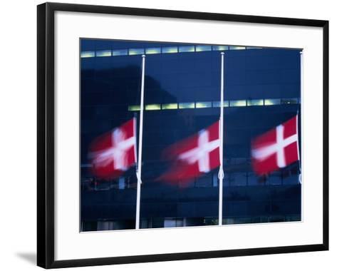 Danish Flags Flying Outside the Black Diamond Building, Copenhagen, Denmark-Martin Moos-Framed Art Print