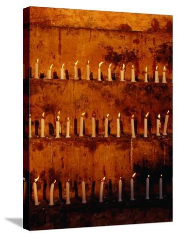 Rows of Candles at Mahabodhi Temple, Bodhgaya, Bihar, India-Richard I'Anson-Stretched Canvas Print