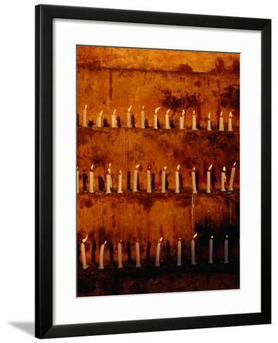 Rows of Candles at Mahabodhi Temple, Bodhgaya, Bihar, India-Richard I'Anson-Framed Art Print