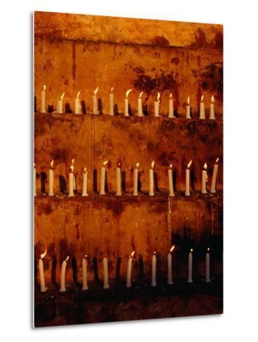 Rows of Candles at Mahabodhi Temple, Bodhgaya, Bihar, India-Richard I'Anson-Metal Print