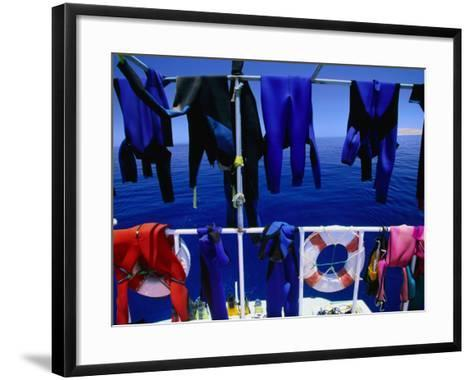 "Wetsuits Drying on ""Live-Aboard"" Dive Boat in Straits of Gubal, Egypt-Jean-Bernard Carillet-Framed Art Print"