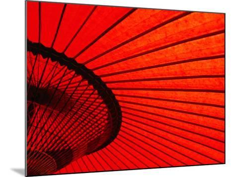 Looking Through Red Bangasa, an Oiled Rice Paper Umbrella, Japan,-Oliver Strewe-Mounted Photographic Print