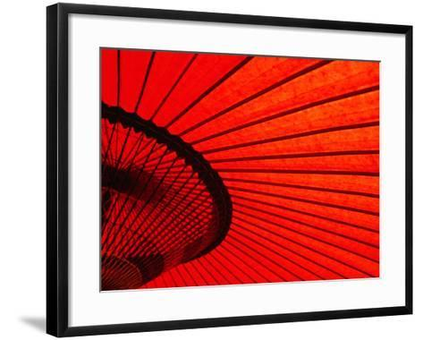 Looking Through Red Bangasa, an Oiled Rice Paper Umbrella, Japan,-Oliver Strewe-Framed Art Print