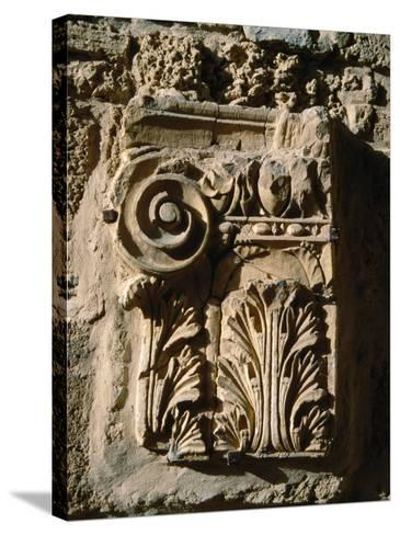 Carved Detail at Antonine Baths, Carthage, L'Ariana, Tunisia-Jane Sweeney-Stretched Canvas Print