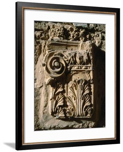 Carved Detail at Antonine Baths, Carthage, L'Ariana, Tunisia-Jane Sweeney-Framed Art Print