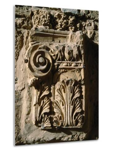 Carved Detail at Antonine Baths, Carthage, L'Ariana, Tunisia-Jane Sweeney-Metal Print