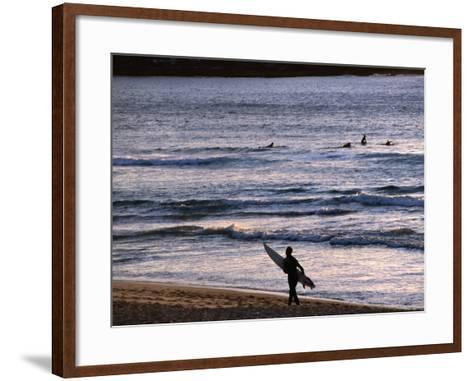 Surfers at Sunrise on Bondi Beach, Sydney, Australia-Glenn Beanland-Framed Art Print