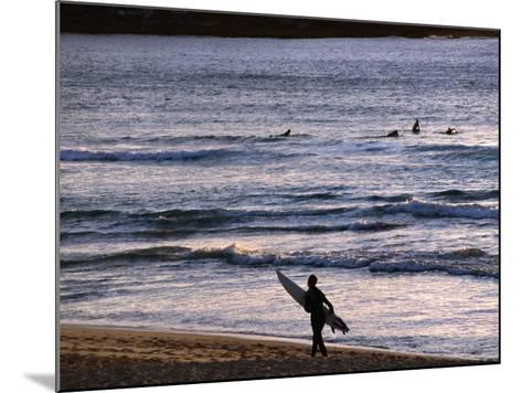 Surfers at Sunrise on Bondi Beach, Sydney, Australia-Glenn Beanland-Mounted Photographic Print