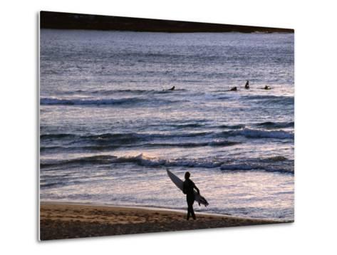 Surfers at Sunrise on Bondi Beach, Sydney, Australia-Glenn Beanland-Metal Print