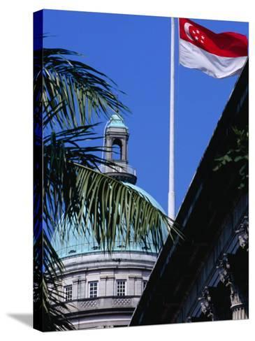 Flag and Dome of Old Supreme Court, Singapore, Singapore-Phil Weymouth-Stretched Canvas Print