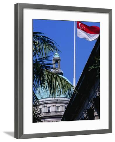 Flag and Dome of Old Supreme Court, Singapore, Singapore-Phil Weymouth-Framed Art Print