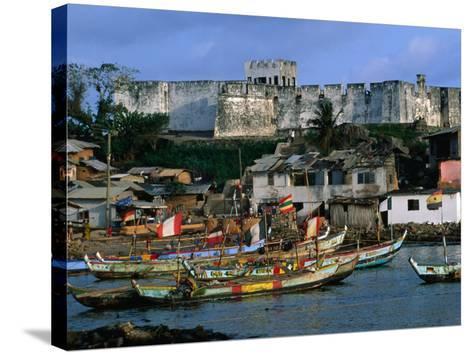 Historic Fort Metal Cross Overlooks the Harbour of Dixcove, Western, Ghana-Ariadne Van Zandbergen-Stretched Canvas Print