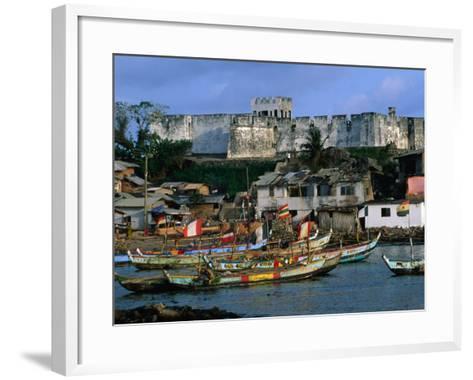 Historic Fort Metal Cross Overlooks the Harbour of Dixcove, Western, Ghana-Ariadne Van Zandbergen-Framed Art Print