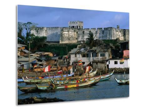 Historic Fort Metal Cross Overlooks the Harbour of Dixcove, Western, Ghana-Ariadne Van Zandbergen-Metal Print
