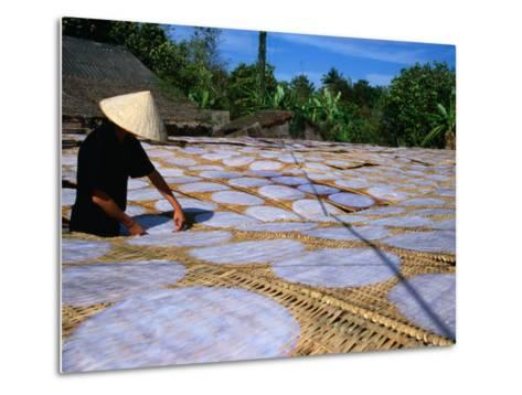 Drying Rice Paper Before Cutting into Noodles, Vietnam-Patrick Syder-Metal Print