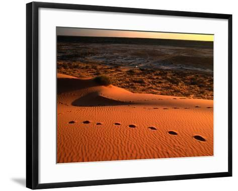 "On Top of the ""Big Red"" Sand Dune in the Simpson Desert, Birdsville,Queensland, Australia-John Hay-Framed Art Print"