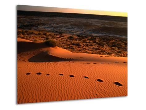 """On Top of the """"Big Red"""" Sand Dune in the Simpson Desert, Birdsville,Queensland, Australia-John Hay-Metal Print"""