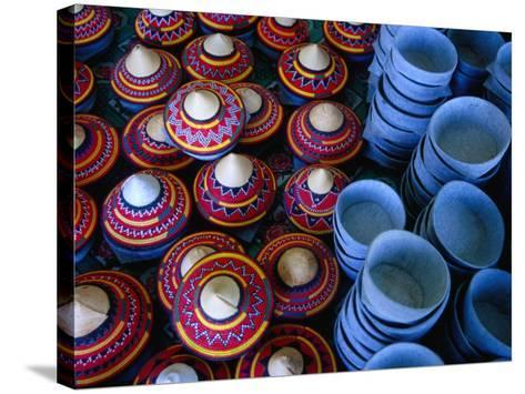 Locally Made Baskets and Ceramic Bowls for Sale in Najran Basket Souq, Najran, Asir, Saudi Arabia-Tony Wheeler-Stretched Canvas Print